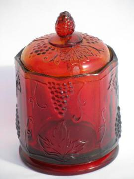 vintage red flashed stain glass covered glass jar, panel grape pattern