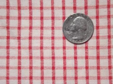vintage red gingham checked fabric, print cotton feed sack fabric