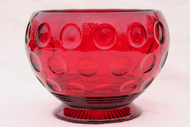 Vintage Red Glass Flower Bowl Vase Dots Thumbprint Coin Spot