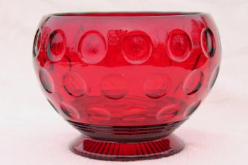 vintage red glass flower bowl vase, dots thumbprint coin spot pattern pressed glass