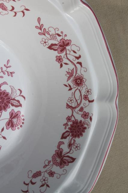 vintage red - pink transferware India tree stoneware pottery, large salad bowls