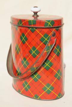 vintage red plaid tartan ware tin sewing box or lunch bucket pail w/ lid