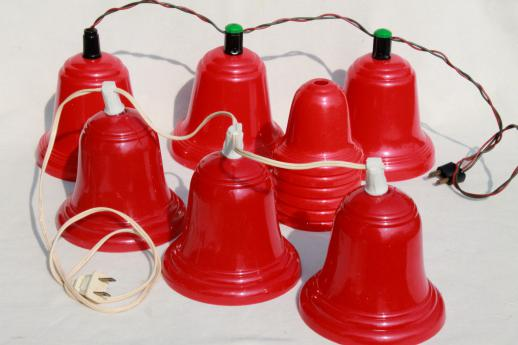 vintage red plastic bells Christmas light covers for lighted holiday door  decoration - Vintage Red Plastic Bells Christmas Light Covers For Lighted Holiday