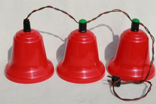 vintage red plastic bells christmas light covers for lighted holiday door decoration