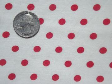 vintage red polka dotted fabric, dots print cotton feed sack fabri