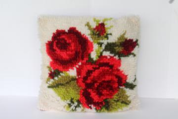 vintage red rose shaggy rug pile latch hook cushion, 70s retro boho toss pillow