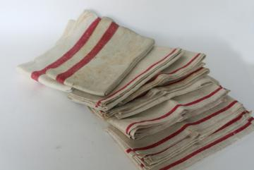 vintage red stripe grain sack flax linen towels & french country kitchen linens