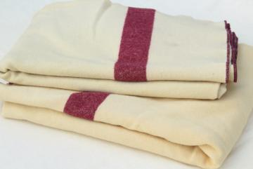vintage red stripe wool camp blankets, US Navy medical department military hospital