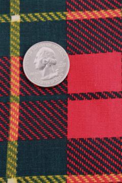vintage red tartan cotton print fabric, old school plaid, 60s retro