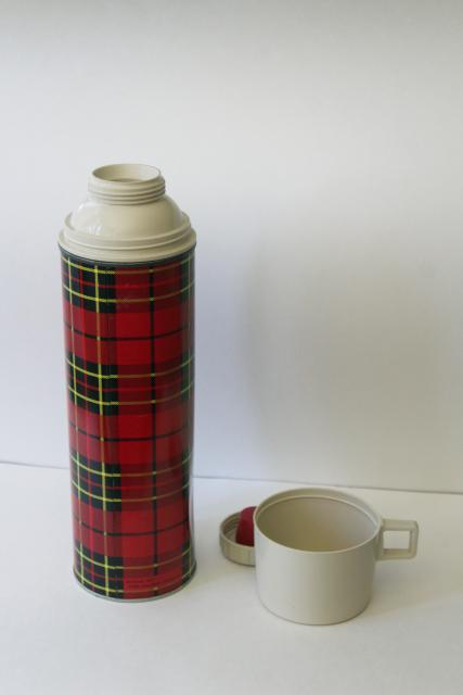 vintage red tartan plaid Thermos bottle, King Seely insulated cooler for camp, picnics