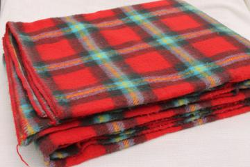 vintage red tartan plaid camp blanket, bed or bunk blanket 88 x 74