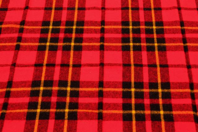vintage red tartan plaid stadium blanket, picnic or camp blanket w/ Faribo label