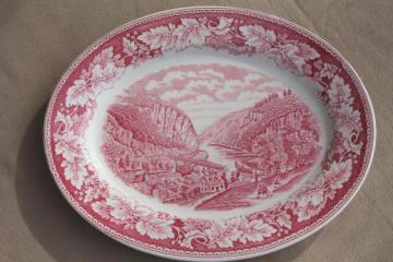 vintage red transferware Currier & Ives china Harper's Ferry platter Homer Laughlin