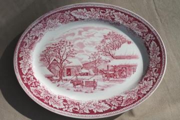 vintage red transferware Currier & Ives china Home to Thanksgiving platter Homer Laughlin