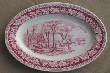 vintage red transferware Currier & Ives china Winter in the Country platter Homer Laughlin