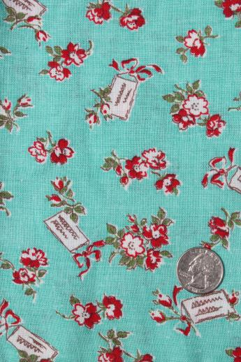 vintage red / turquoise print cotton feedsack fabric, sewn sack w/ original chain stitching