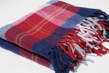vintage red, white & blue camp blanket, soft fringed acrylic throw w/ Faribo label