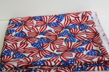 vintage red white blue print cotton fabric 4th of July patriotic American flag bows