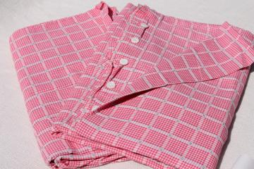 vintage red & white checked cotton duvet or comforter cover pair of button up covers