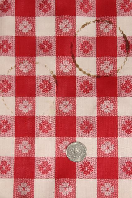 vintage red & white checked linen fabric for kitchen dish towels or tablecloth