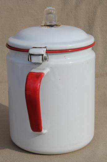 vintage red & white enamelware coffee pot, red band enamel primitive farm kitchen cookware