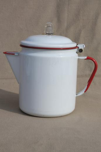 Vintage Red Amp White Enamelware Coffee Pot Red Band Enamel