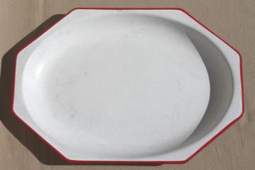 vintage red & white enamelware tray, 1930s art deco kitchenware octagon shaped platter