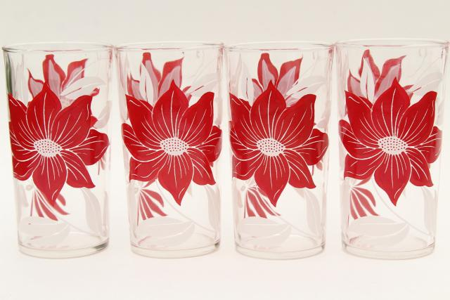 vintage red & white flower print drinking glasses, holiday poinsettia swanky swig tumblers