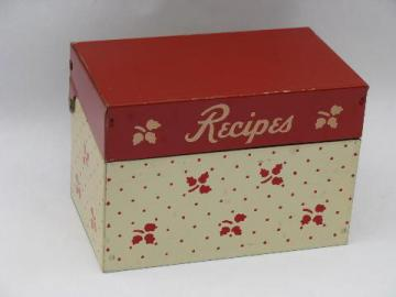 vintage red / white metal litho recipe cards file box, kitchen recipes