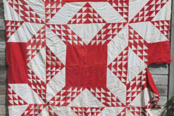 vintage red & white patchwork pieced cotton quilt top