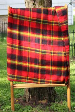 vintage red / yellow / black plaid camp blanket, never used soft acrylic throw