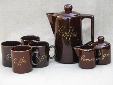 vintage redware pottery coffee set - coffeepot, cups, cream and sugar
