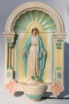 vintage religious chalkware figure of Mary lighted grotto wall hanging niche shrine