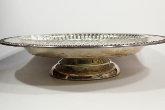 vintage relish plate server, silver lazy susan turntable w/ insert crystal dish