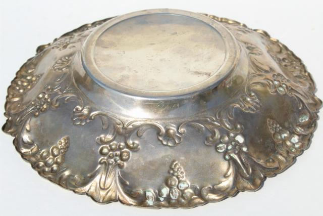 vintage repousse silver bowl, worn tarnished silverplate over copper or brass