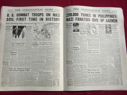 vintage reproduction of Indianapolis News WWII newspaper headlines