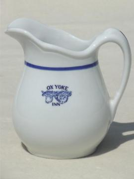 vintage restaurant china, blue & white ironstone pitcher w/ cows Ox Yoke Inn