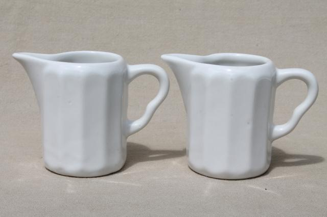 vintage restaurant china cream pitchers, white ironstone, hunt club rider