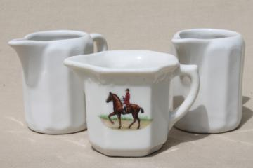 vintage restaurant china cream pitchers, white ironstone, hunt club rider