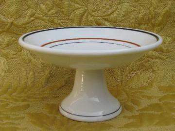 vintage restaurant china dessert stand, compote pedestal bowl w/ band