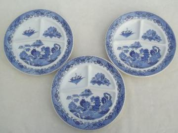 vintage restaurant china grill plates, Japan blue willow divided plates
