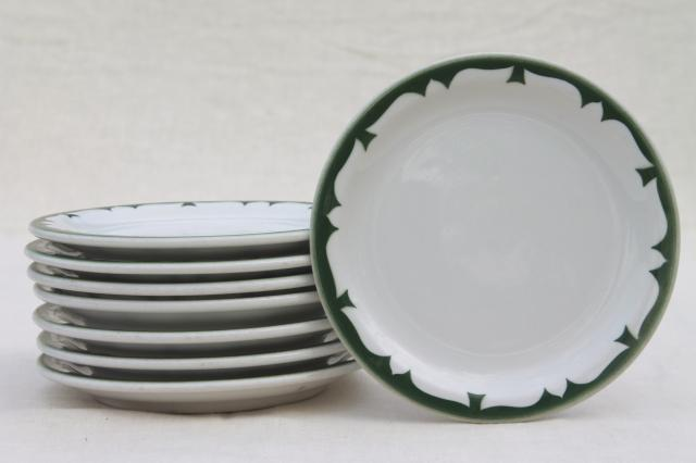 vintage restaurant china plates deep pine green stencil border on white ironstone dishes & vintage restaurant china plates deep pine green stencil border on ...