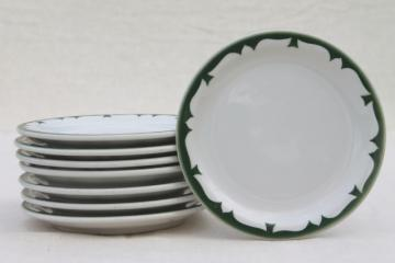 vintage restaurant china plates, deep pine green stencil border on white ironstone dishes