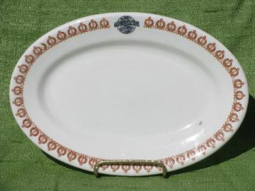vintage restaurant china platter marked for Universal, old globe mark