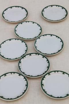 vintage restaurant china sandwich / pie plates, deep pine green stencil border on white ironstone