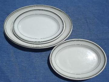vintage restaurant / railroad ironstone china platters, butter plates