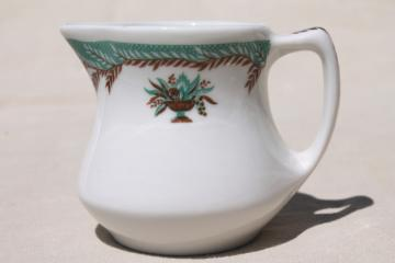 vintage restaurant ware ironstone cream pitcher, tiny Shenango china creamer