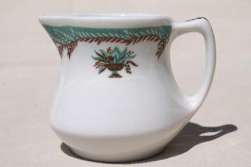 vintage restaurant ware ironstone cream pitcher, tiny Shenango china creamer
