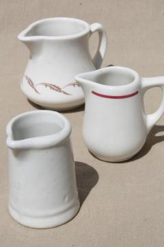 vintage restaurant ware ironstone creamers, cream pitchers - china pitcher collection