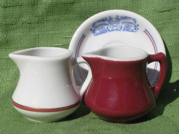 vintage restaurantware cream pitchers, saucer from Restaurant Antoine